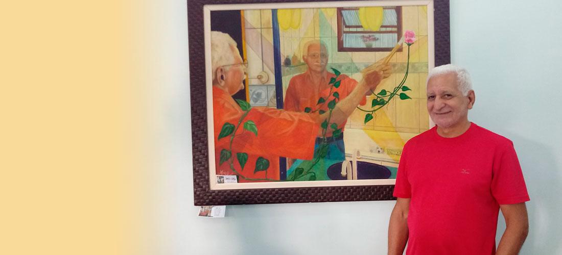 Valdomiro Coelho mostra sua arte na Associação Comercial de São Vicente