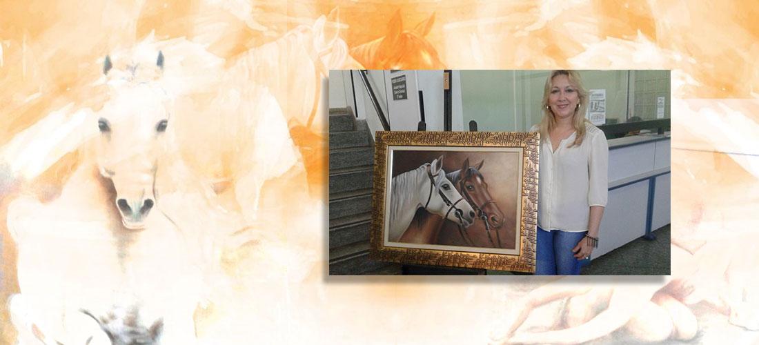 Exposição 'Cavalos, Flores e Nu' de Nadya Righetti na Associação Comercial de São Vicente